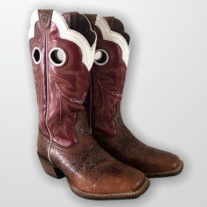 Ariat Wildstock Adobe Clay & Red Wide Square Boots